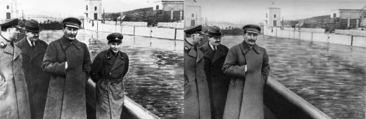 1930'lu yıllarda eski Sovyet lideri Joseph Stalin ve Komiser Nikolay Yejov (1940 yılında yargılanıp idama mahkûm edilerek kurşuna dizilen üst düzey bir politikacı)