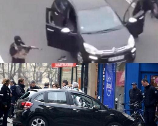 Kouachi kardeşlerin saldırıda kullandıkları arabanın Paris'in 19. bölgesindeki araba ile aynı olmadığını kanıtlamaya yönelik resimler. Aslında yan aynaların renklerindeki tutarsızlığın tek sebebi güneş ışığının krom renkli yan aynalara farklı açılardan çarpıp yansıması...